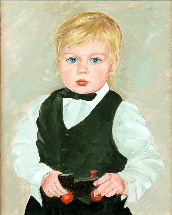 Child Painting - Child With A Toy by Ethel Vrana