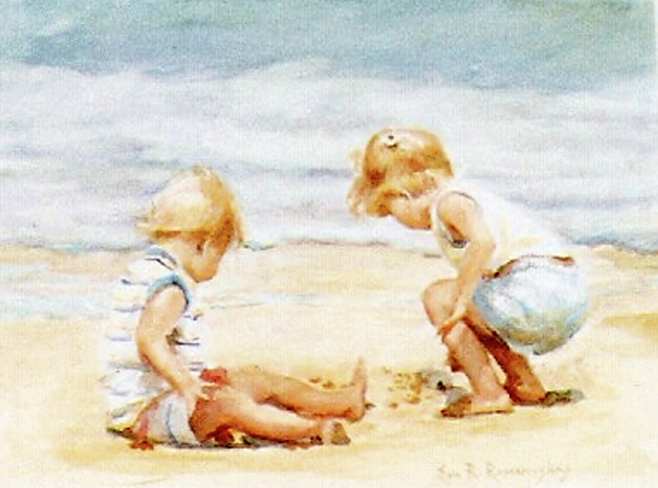 Children on the beach painting by eva ramanuskas for Paintings of toddlers
