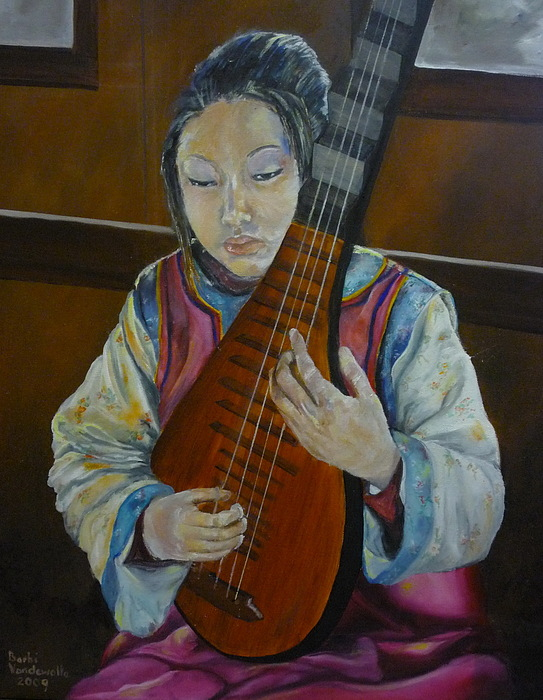 Chinese Lute Player Painting