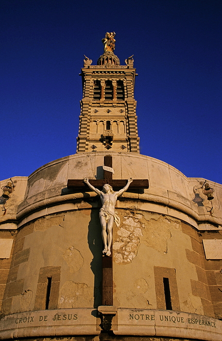 Architectural Photograph - Christ On The Cross Outside The Nortre Dame De La Garde by Sami Sarkis