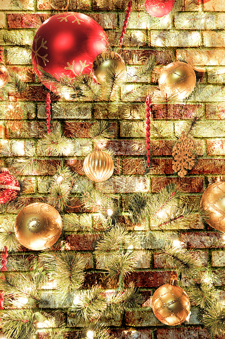 Christmas Brick Background Photograph