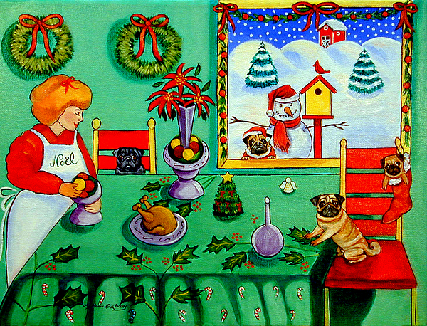 Pug Painting - Christmas Harmony by Lyn Cook