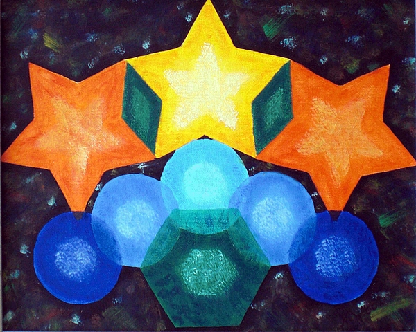 Shapes Painting - Circles And Stars by Nancy Otey