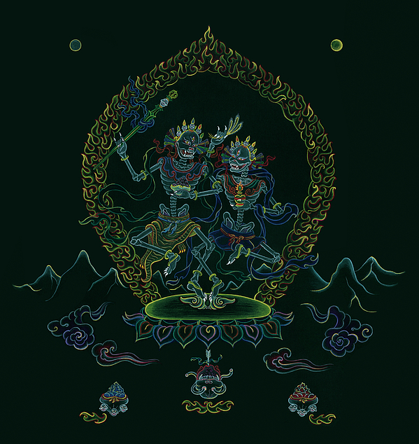 Citipati -the Lord And Lady Of The Charnel Grounds Painting