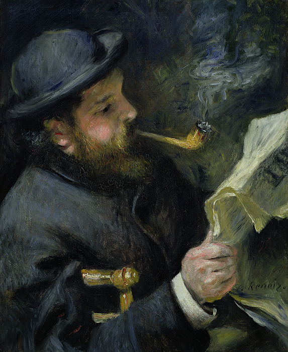 Claude Monet Reading A Newspaper Painting