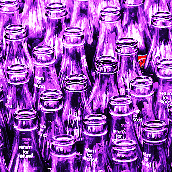 Coke Bottle Photograph - Coca-cola Coke Bottles - Return For Refund - Square - Painterly - Violet by Wingsdomain Art and Photography