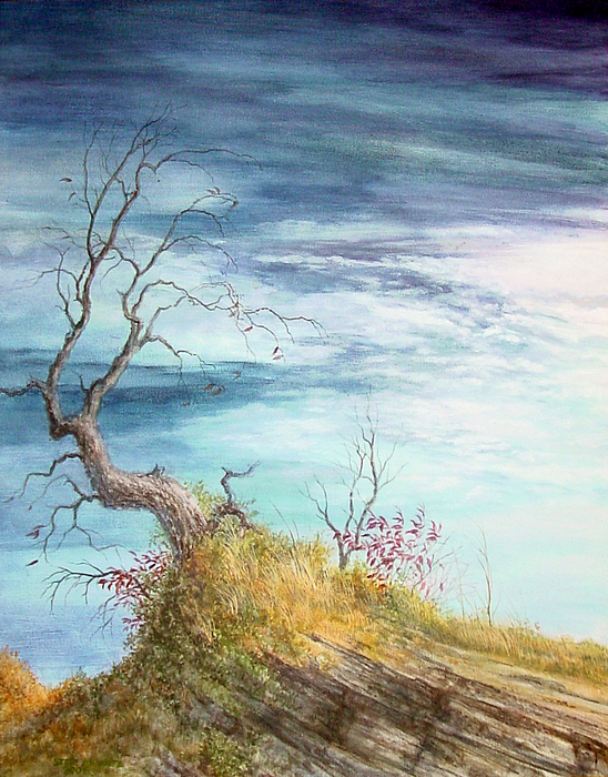 Twisted Tree Painting - Cold September by Steve Mountz