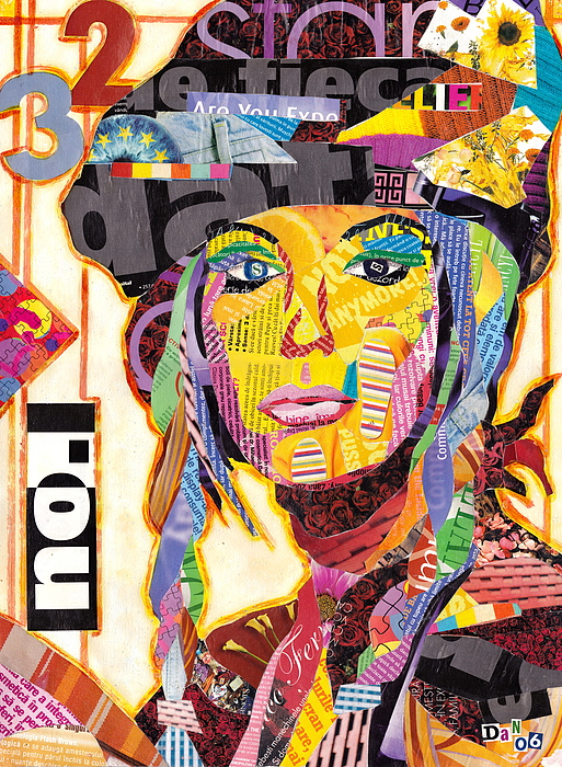 Collage Mixed Media - Collage Portrait by Oprisor Dan