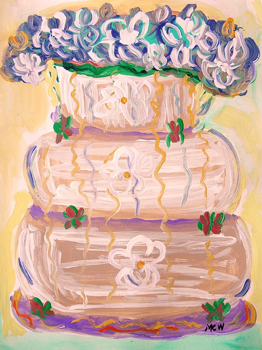 Cake Painting - Color In A Wedding Cake by Mary Carol Williams