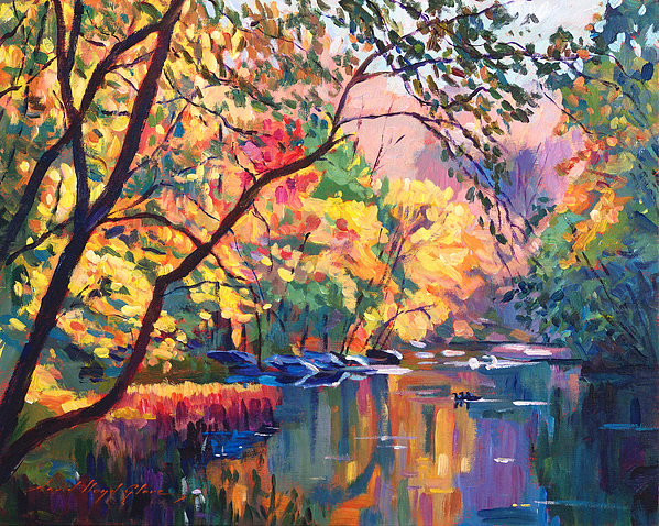 Plein Aire Painting - Color Reflections Plein Aire by David Lloyd Glover