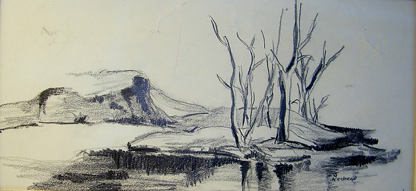 Landscape Drawing - Colorado Pencil Sketch by Judith Redman