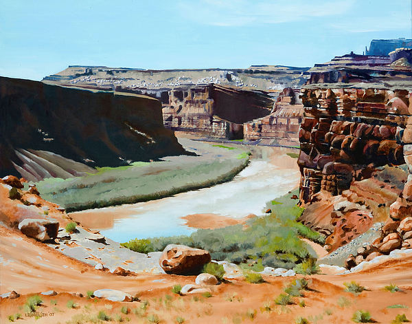 Colorado River Painting - Colorado River Bend by Lester Nielsen