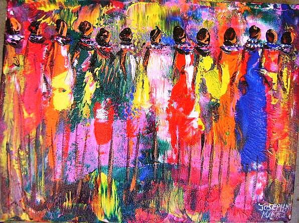 Cultural Painting - Colourful Women by Joseph Muchina