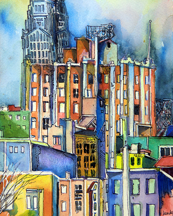 City Painting - Columbus Ohio City Lights by Mindy Newman