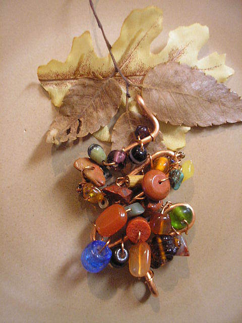 Handcrafted Jewelry - Copper Pendant With Stones by Angie DElia
