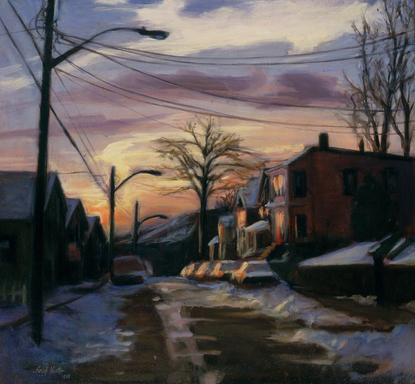 Streetscape Painting - Corson Avenue - February by Sarah Yuster