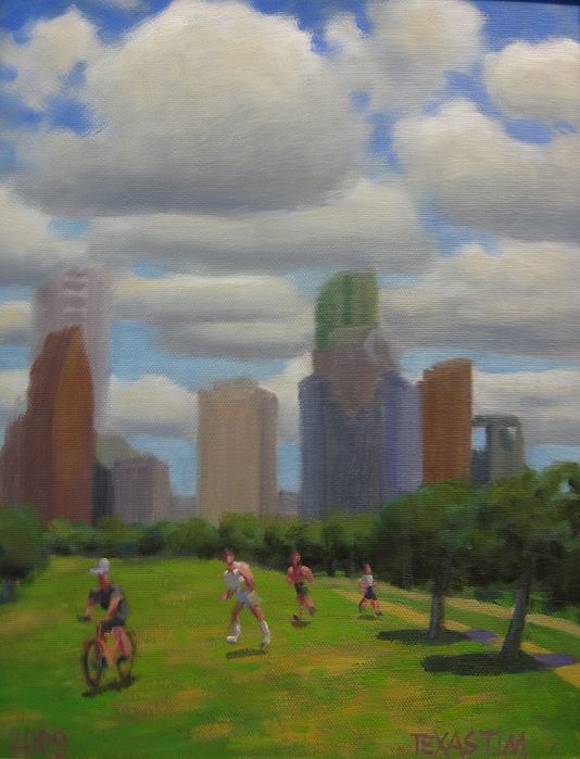 A Sunny Day In One Of Houston's Many Parks. Joggers Out For A Run With A Bike Rider In The Lead. The Beautiful Skyline And Fluffy White Clouds Are Dreamy. Painting - Cottonball Clouds by Texas Tim Webb