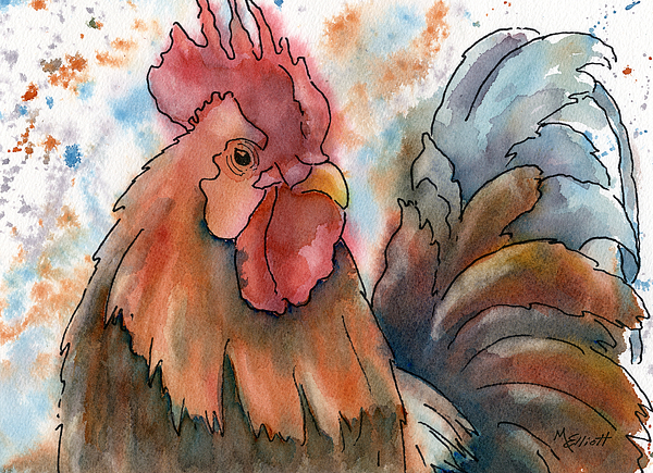 Rooster Painting - Country Alarm Clock by Marsha Elliott