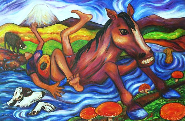 Diconnollyart Painting - Creek Crossing Gone Wrong by Dianne  Connolly