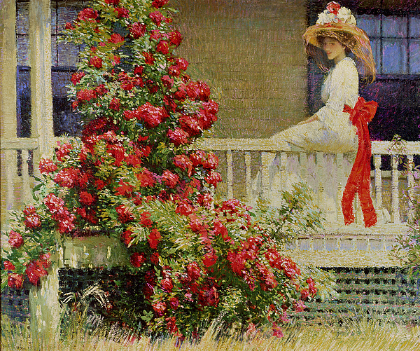 Crimson Rambler (oil On Canvas) Impressionist; Impressionism; Woman; Veranda; Climber; Climbing Plant; Bush; Flowers; Flower; Red; Summer; Sunshine; American; Idyllic; Woman Painting - Crimson Rambler by Philip Leslie Hale