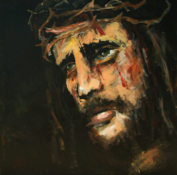 Crucified Jesus Print by Carole Foret