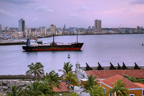 Cuba. Cargo Ship Leaving Havana Bay. Photograph