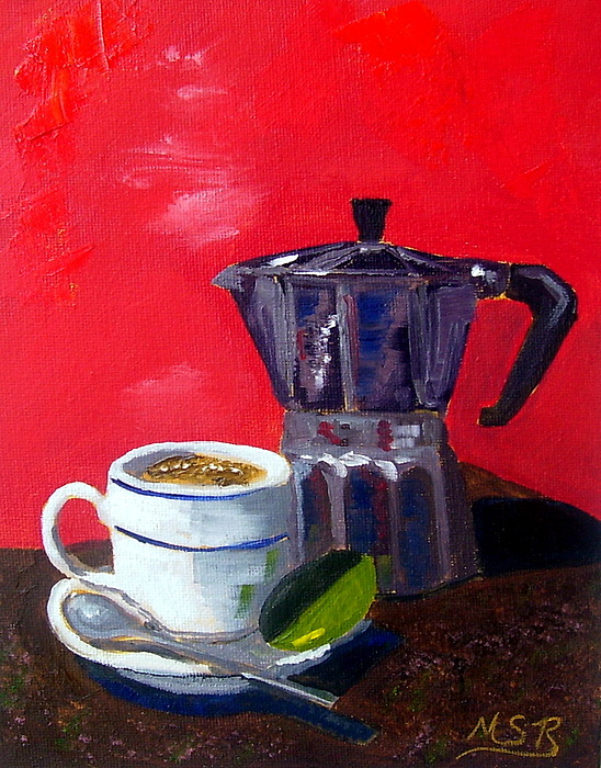 Cuban Coffee And Lime Red Painting