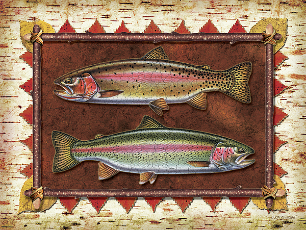 Trout Painting - Cutthroat And Rainbow Trout Lodge by JQ Licensing