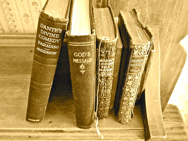 Photograph Of Old Books Photograph - Dante God And Shakespeare ... by Gwyn Newcombe