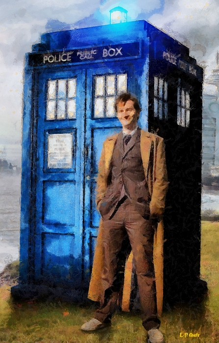 Doctor Who And Tardis Art Painting - David Tennant As Doctor Who And Tardis by Elizabeth Coats