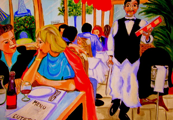 Paris Painting - Diners At La Lutetia by Rusty Woodward Gladdish