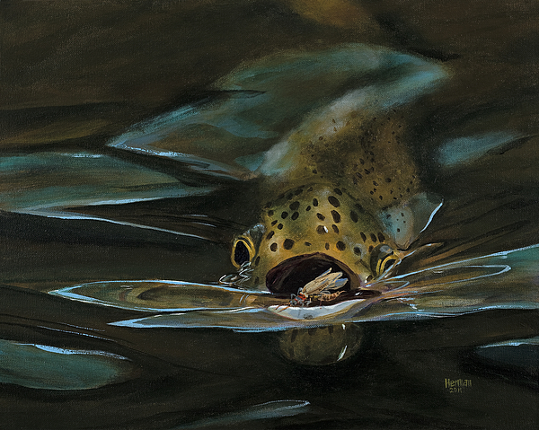 Trout Painting - Dinner Is Served by Les Herman