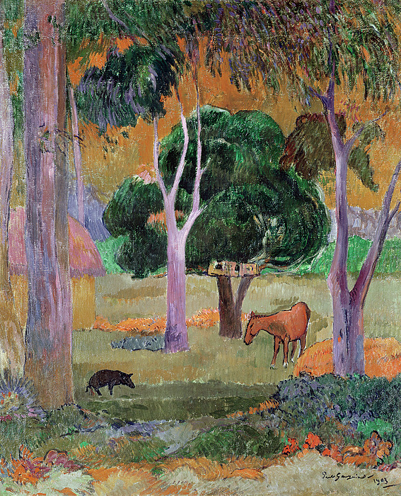Dominican Landscape Or Painting - Dominican Landscape by Paul Gauguin