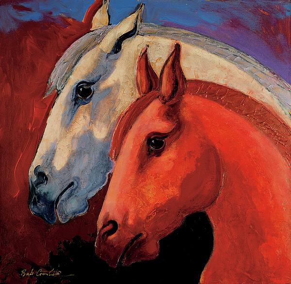 Animal Art Painting - Dos Equus by Bob Coonts