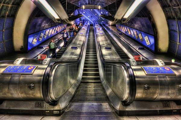 Escalator Photograph - Down From A Cloud. Up From The Underground. by Evelina Kremsdorf