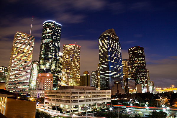 Architecture Photograph - Downtown Houston At Night by Olivier Steiner