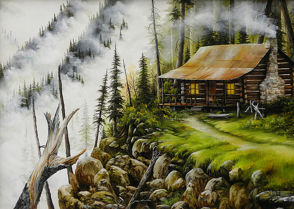 Cabin On Hill Painting - Dream Home by David Paul