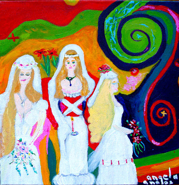 Brides Painting - Dream Of A Jungian Marriage by Angela Annas