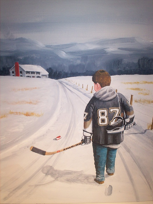 Hockey Painting - Dream Walking - The Kid by Ron  Genest