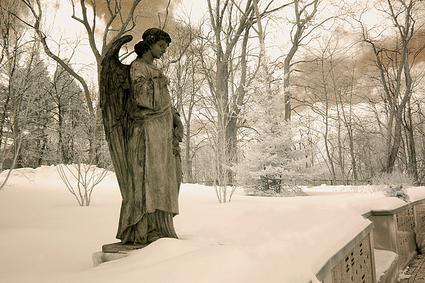 Dreamy Angel Monument Surreal Sepia Nature Photograph