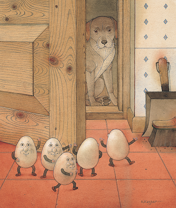 Kitchen Red Brown Dog Eggs Painting - Eggs And Dog by Kestutis Kasparavicius