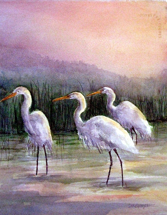 Shorebirds Painting - Egrets At Sunset by Suzanne Krueger