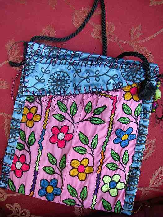 Vintage Tapestry - Textile - Electric Flowers  Nomadic Bag by Krisha Fairchild