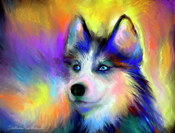 Electric Siberian Husky Dog Painting Painting