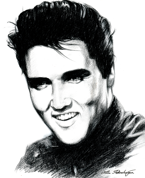 Elvis Drawing - Elvis by Lin Petershagen