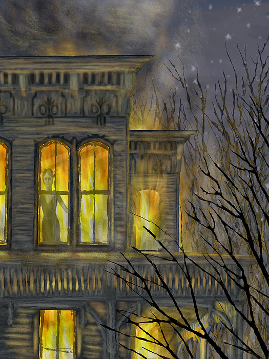 House Fire Ghost Haunted Dark  Painting - Emily by Jamison Smith