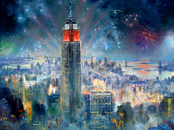 Empire State Building In 4th Of July Painting By Ylli Haruni