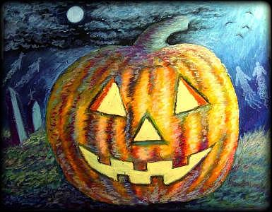 Halloween Painting - Enchanted Evening by Ronald Johnson