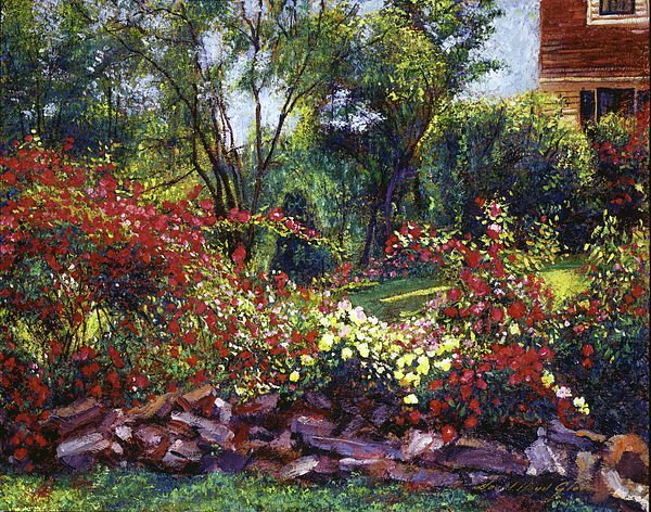 Gardens Painting - Evening Roses by David Lloyd Glover