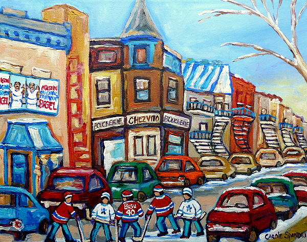 Montreal Painting - Fairmount Bagel And Hockey by Carole Spandau